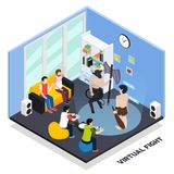 Virtual Fight Gaming Isometric Composition. Virtual fight isometric composition with gaming characters, gamers with control panels, spectators in home interior Royalty Free Stock Images