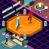 Virtual Fight Isometric Illustration. Virtual fight scene including players with electronic equipment gaming warriors on combat zone isometric vector Stock Photos