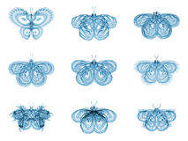 Virtual Fractal Butterflies Stock Photos