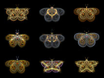Virtual Fractal Butterflies Royalty Free Stock Photos