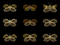 Virtual Fractal Butterflies Royalty Free Stock Images