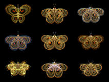 Virtual Fractal Butterflies Royalty Free Stock Photography