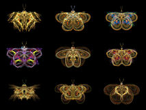 Virtual Fractal Butterflies Stock Photo
