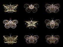 Virtual Fractal Butterflies Stock Images