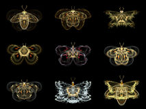Virtual Fractal Butterflies Royalty Free Stock Image