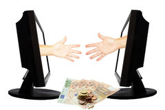 Virtual game by internet hand shape of paper scissors stone on white background with money - internet business concept 5 Stock Photography