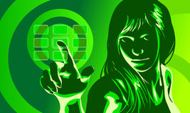 Virtual Girl Green Royalty Free Stock Photos