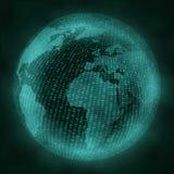 Virtual globe with binary code. Virtual reality concept. Royalty Free Stock Image