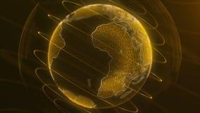 Virtual Globe Futuristic Earth Hologram Spinning Digital Planet Seamless Looping Motion Background. Futuristic stock photography