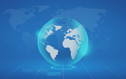 Virtual globe and map over blue background Stock Photo