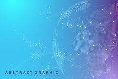 Virtual Graphic Abstract Background Communication with World Globe.   Stock Photos