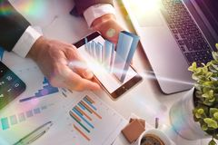 Virtual graphic representation on mobile success concept stock photography