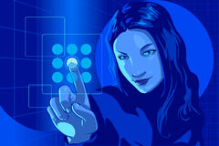Virtual Hacker Girl Blue Royalty Free Stock Photos
