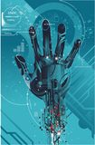 Virtual hand on futuristic dsign Royalty Free Stock Image