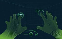 Virtual hands point of view. Concept of virtual reality technology, point of view from vr glasses Stock Photo
