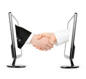Virtual handshake Royalty Free Stock Photo
