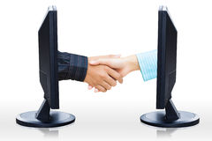 Virtual handshake Royalty Free Stock Photos