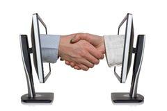 Virtual handshake stock photos