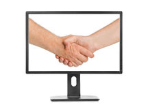 Virtual handshake - internet business concept Stock Images