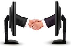 Virtual handshake  Internet working concept Stock Photos