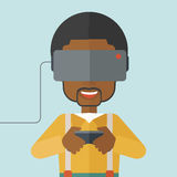 Virtual headset. An asian man wearing a virtual headset with remote control vector flat design illustration  on blue background. Square layout Stock Photography