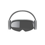 Virtual Headset. Original stereoscopic 3d vr mask with headphones. Front view. Vector illustration Isolated on white background Royalty Free Stock Photo