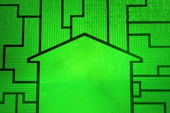 Virtual House Room. House room contour green, cyberspace virtual reality abstract 3d illustration, horizontal Royalty Free Stock Photos