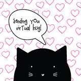 Virtual hug. Romantic love quote message from cat character. Stock Photos