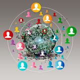 Virtual icon of social network Stock Photography