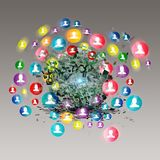 Virtual icon of social network. Communication and network, connections around a sphere stock illustration