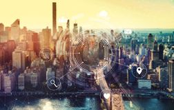 Virtual icons with New York City royalty free stock photos