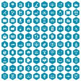 100 virtual icons sapphirine violet. 100 virtual icons set in sapphirine hexagon isolated vector illustration stock illustration
