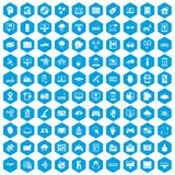 100 virtual icons set blue. 100 virtual icons set in blue hexagon isolated vector illustration stock illustration
