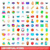 100 virtual icons set, cartoon style Royalty Free Stock Photography