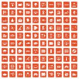 100 virtual icons set grunge orange. 100 virtual icons set in grunge style orange color isolated on white background vector illustration Stock Illustration