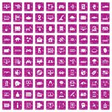 100 virtual icons set grunge pink. 100 virtual icons set in grunge style pink color isolated on white background vector illustration Stock Illustration