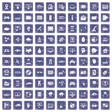 100 virtual icons set grunge sapphire. 100 virtual icons set in grunge style sapphire color isolated on white background vector illustration Vector Illustration