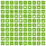 100 virtual icons set grunge green. 100 virtual icons set in grunge style green color isolated on white background vector illustration Stock Photo