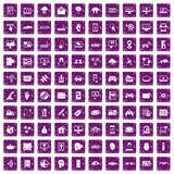 100 virtual icons set grunge purple. 100 virtual icons set in grunge style purple color isolated on white background vector illustration Stock Photography
