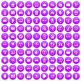 100 virtual icons set purple. 100 virtual icons set in purple circle isolated vector illustration Royalty Free Stock Photography