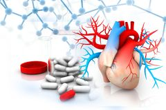 human heart with medicine stock illustration