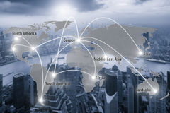 Virtual interface connection map of global partner connection. Use for logistic,import,export background.(Elements of this image furnished by NASA Stock Images