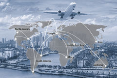 Virtual interface connection map of global partner connection. Use for logistic,import,export background.(Elements of this image furnished by NASA Royalty Free Stock Photo