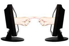 Virtual internet business concept with two hands with horizontally fingers. Two hands in display with fingers horizontally on the white background - internet Stock Images