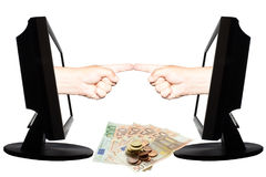 Virtual internet business concept with two horizontally fingers and money. Two horizontal hands with fingers protruding from displays and down are euro banknotes Stock Photos