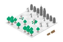 Virtual isométrico da xadrez abstrata 3D da floresta e da construção, projeto de conceito do dia de ambiente de mundo ilustração stock