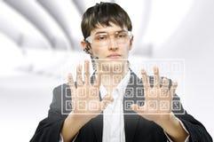 Virtual keyboard. Successful business men use the virtual keyboard Stock Photography