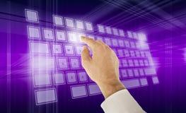 Virtual keyboard. Typing on virtual keyboard blue background Royalty Free Stock Image