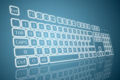 Virtual keyboard in perspective. View, glowing keys and reflection on blue background Stock Photo