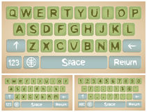 Virtual keyboard for smartphone. Virtual keyboard for a smartphone,  stylized vintage cardboard Stock Photos